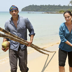 Liz carrying bamboo with <a href=