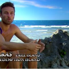 Aras making an confessional on Redemption Island.