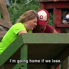Chris and Lorie competing at the Immunity Challenge on Day 30.