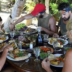 The blue team enjoying their Sunday roast.