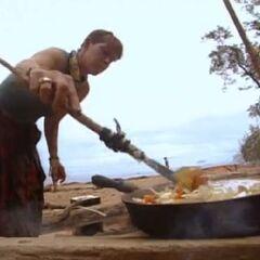 Gretchen cooking at Pagong camp.