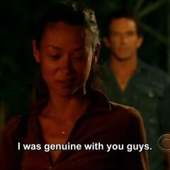 Brenda talking to her tribemates right after being voted out.