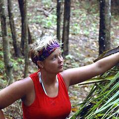 Melinda building the shelter on Casaya.