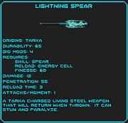 Lightning Spear Data