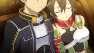 Sinon takes a nap on Kirito's Shoulder