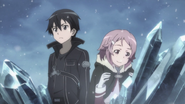 Kirito and Lisbeth at the top of the west mountain