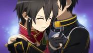 Sinon clinging to Kirito