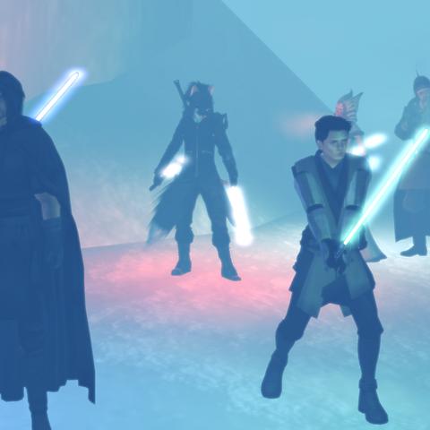 Fighting a Tarentatek on Ilum (far right)