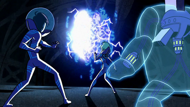 File:Lance, Ilana and Octus confront the Electric Entity in A Family Crisis.png