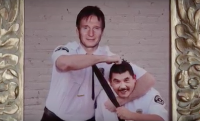 File:Liam Neeson in the Taken 4 Jimmy Kimmel spoof with Guillermo.png