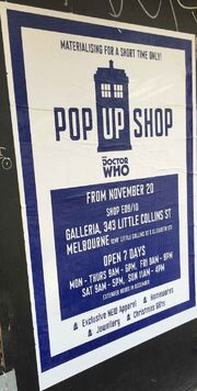 Doctor Who Pop Up Shop Melbourne poster 2014