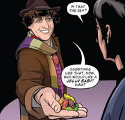 The Doctor offering jelly babies
