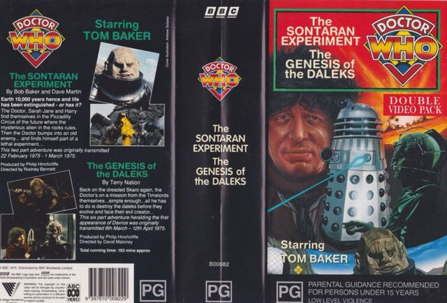 File:The Sontaran Experiment Genesis of the Daleks VHS Australian folded out cover.jpg