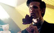 The Doctor licking Clara's leaf