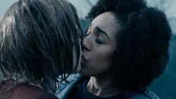 Bill and Heather kiss