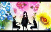 Yuuko sit on table between teiichi and okonogi copy