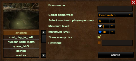Room Creation Menu