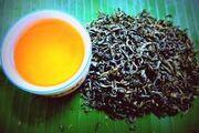 Golden cup of tea