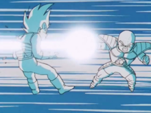 Krillin shoots Vegeta through the chest