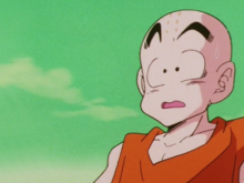 Krillin confronted by Vegeta