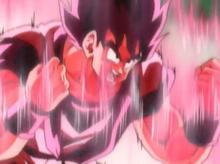 Goku powering up for Ginyu