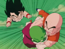Krillin and Gohan flying with Dende