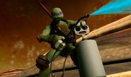 Donatello Using Giant Bug Spray