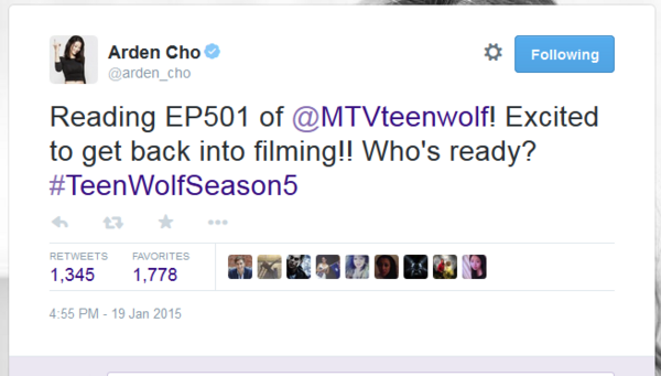Teen Wolf News Arden Cho first episode tweet