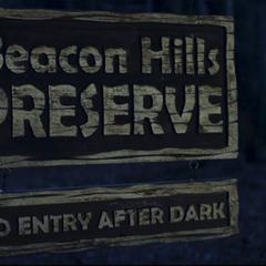 Teen Wolf Season 1 Episode 1 Beacon Hills Preserve sign