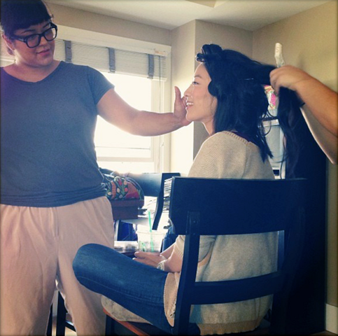 File:Teen Wolf Season 3 Behind the Scenes Arden Cho Photoshoot prep.png
