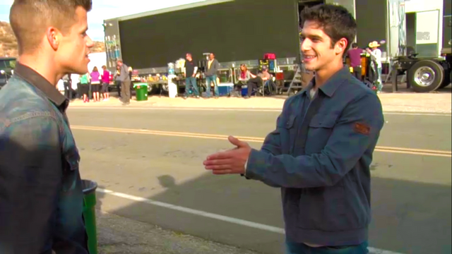 File:Teen Wolf Wikia Season 3 Behind the Scenes Highway Scene Charlie Carver Tyler Posey.png