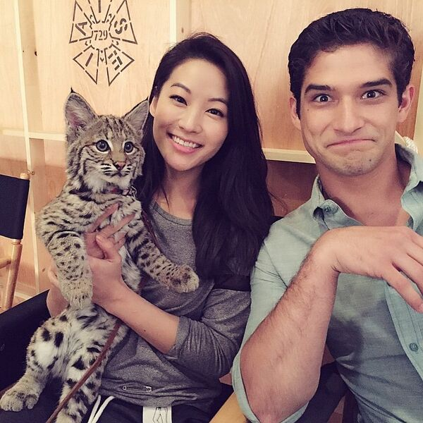 Teen Wolf Season 5 Behind the Scenes Arden Cho with bobcat and Tyler Posey 022315