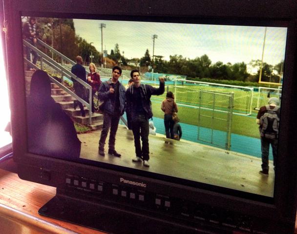 File:Teen Wolf Season 3 Behind the Scenes Pali Stadium Dylan OBrienTyler Posey.png