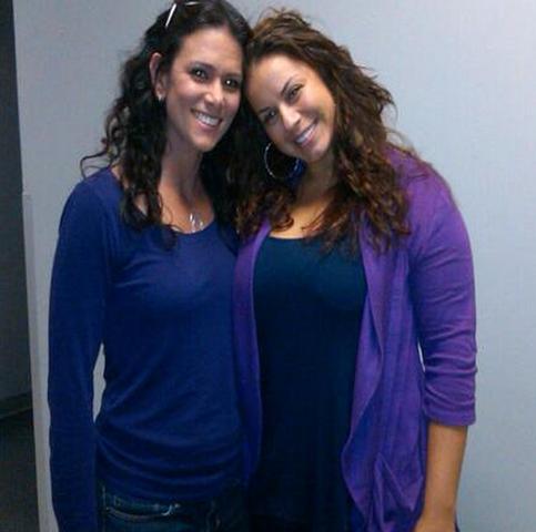 File:Teen Wolf Season 3 Behind the Scenes Melissa Ponzio Barbara Vazquez Spirit Day Purple.png