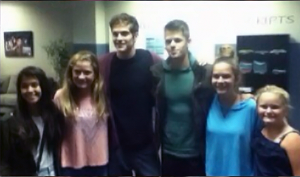 File:Teen Wolf Season 3 behind the scenes Daniel Sharman and Max Carver with fans in Production Office.png