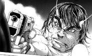 Ichiro pointing the gun towards Terraformar