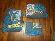 Vintage 1998 GODZILLA Twin Bed SET Sheet Fitted Pillowcase 90's Bedding