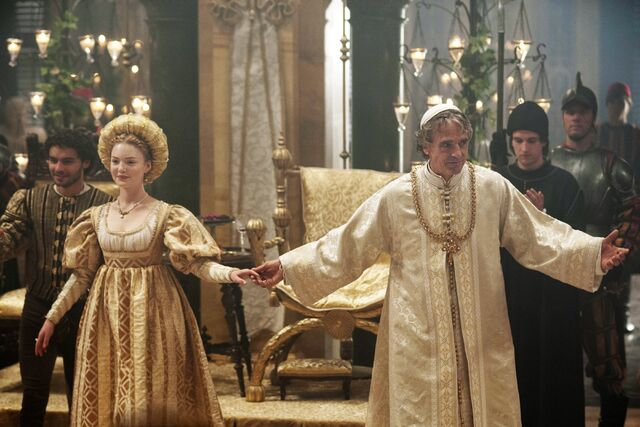 File:009 Siblings episode still of Alfonso of Aragon, Lucrezia Borgia and Rodrigo Borgia.jpg