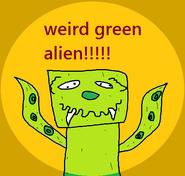 Weird green alien badge