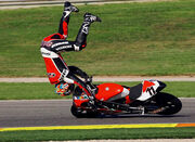Motorcycle driver fall