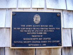 John Alden House historic marker