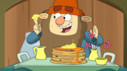 S1e09a grumpy enjoys his chocolate chip pancakes with banana cream
