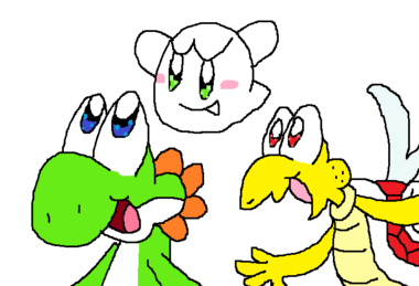 Yoshi, Boo, and Paratroopa