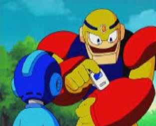 Guts Man giving Mega Man a virus