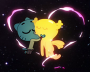 Gumball Watterson is kissing Penny Fitzgerald on The Shell