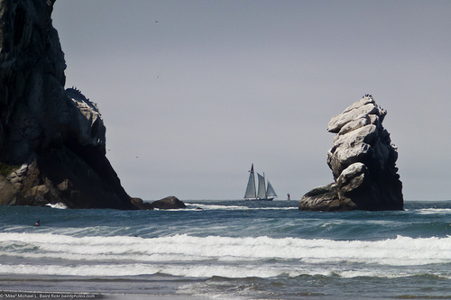File:Old style sail ship sails inside a buoy, between Morro Rock (Left) and Pillar Rock (Right) off Morro Strand State Beach.jpg