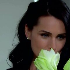 Quinn sniffs wedding flowers