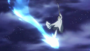 Perseus using a spell to fly