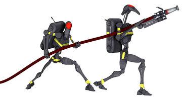 Firefighting battle droids