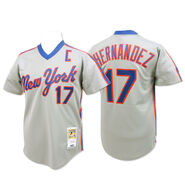 MLB New York Mets Authentic 1987 Keith Hernandez Road 17 Grey Jersey